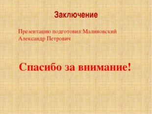 Заключение Презентацию подготовил:Малиновский Александр Петрович Спасибо за в