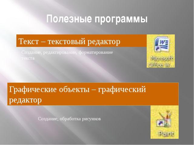 Полезные программы Текст – текстовый редактор Создание, редактирование, форма...