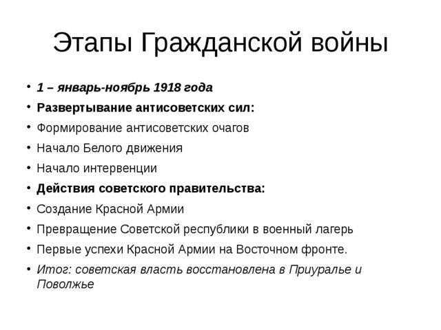Этапы Гражданской войны 1 – январь-ноябрь 1918 года Развертывание антисоветск...