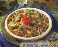 Фото к рецепту: Рис с фаршем и стручковой фасолью