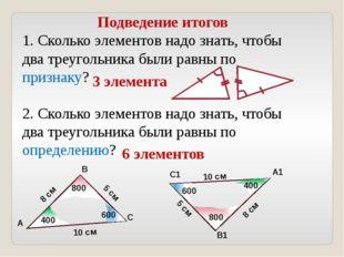 Подведение итогов 1. Сколько элементов надо знать, чтобы два треугольника был
