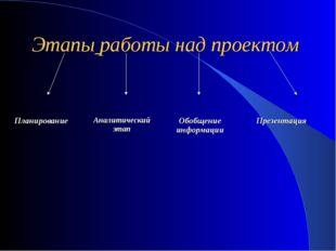 Этапы работы над проектом Планирование Аналитический этап Обобщение информаци