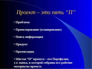 Проблема Проектирование (планирование) Поиск информации Продукт Презентация.