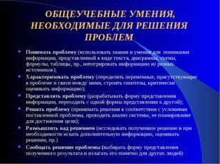 ОБЩЕУЧЕБНЫЕ УМЕНИЯ, НЕОБХОДИМЫЕ ДЛЯ РЕШЕНИЯ ПРОБЛЕМ Понимать проблему (испол