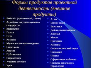Формы продуктов проектной деятельности (внешние продукты) Веб-сайт (предметны