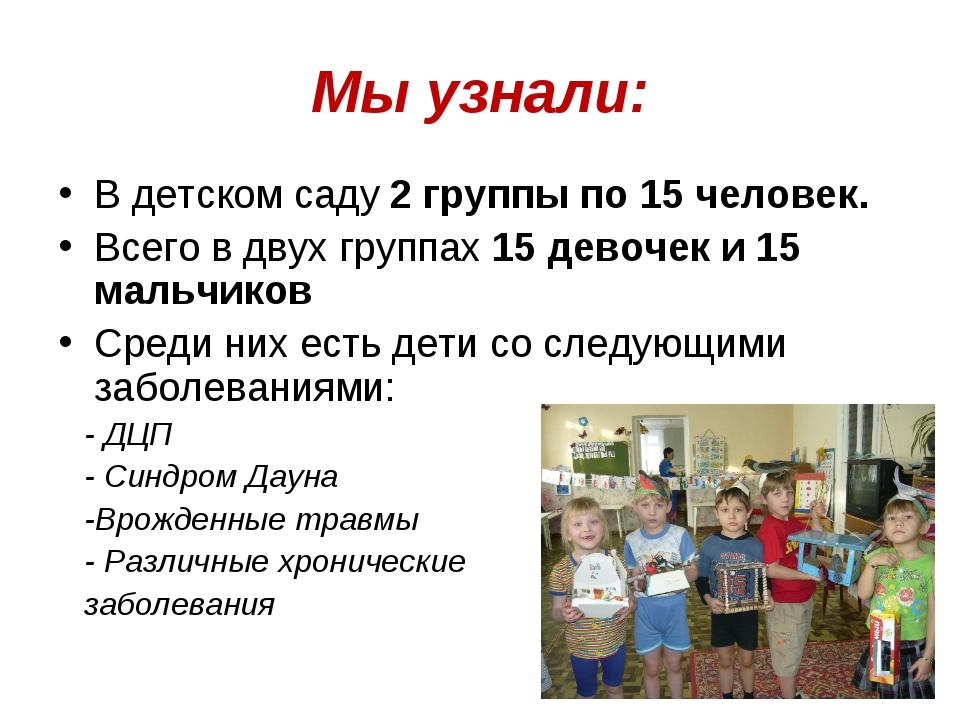 Мы узнали: В детском саду 2 группы по 15 человек. Всего в двух группах 15 дев...