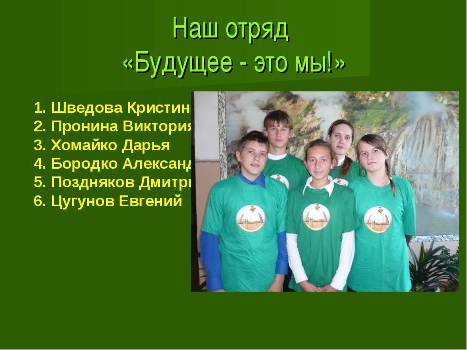 Наш отряд «Будущее - это мы!» 1. Шведова Кристина 2. Пронина Виктория 3. Хом...
