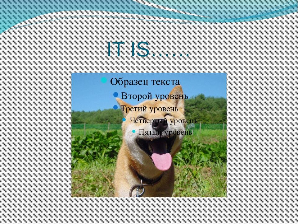 IT IS……