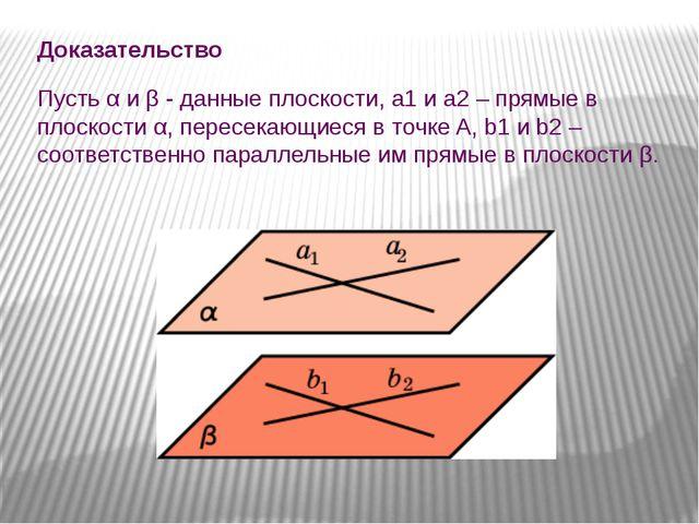 Доказательство Пусть α и β - данные плоскости, a1 и a2 – прямые в плоскости...
