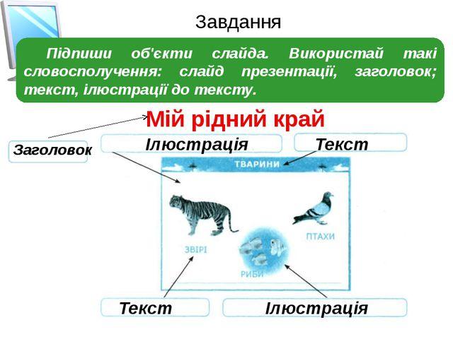 Завдання Підпиши об'єкти слайда. Використай такі словосполучення: слайд презе...
