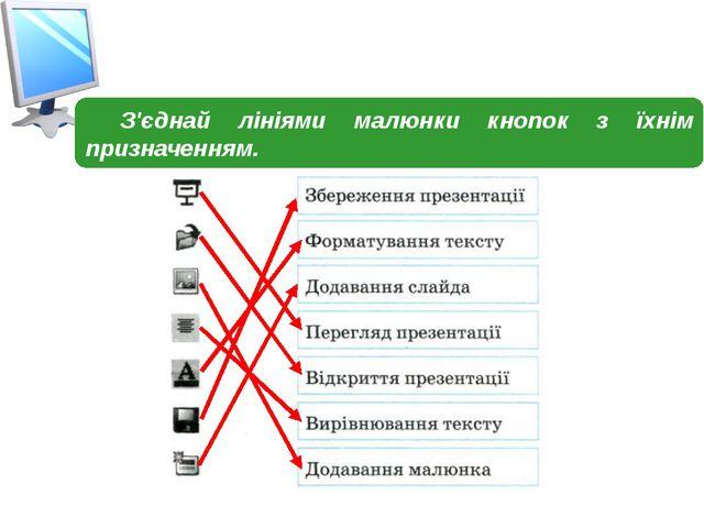 З'єднай лініями малюнки кнопок з їхнім призначенням.