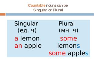 Countable nouns can be Singular or Plural Singular (ед.ч) Plural (мн.ч) alemo