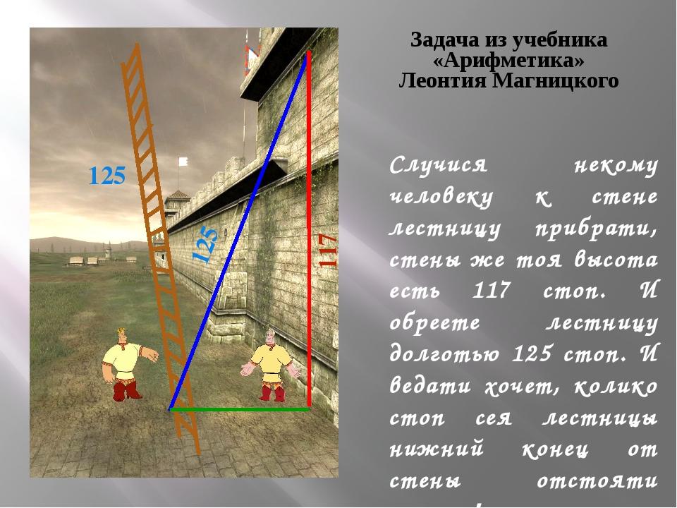 Случися некому человеку к стене лестницу прибрати, стены же тоя высота есть 1...