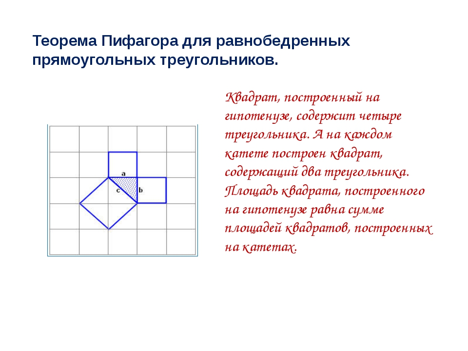 Теорема Пифагора для равнобедренных прямоугольных треугольников. Квадрат, пос...