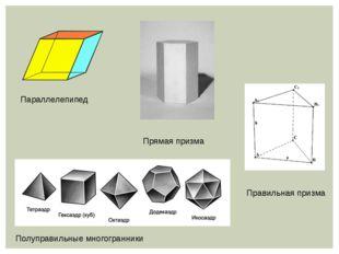 Параллелепипед Прямая призма Правильная призма Полуправильные многогранники