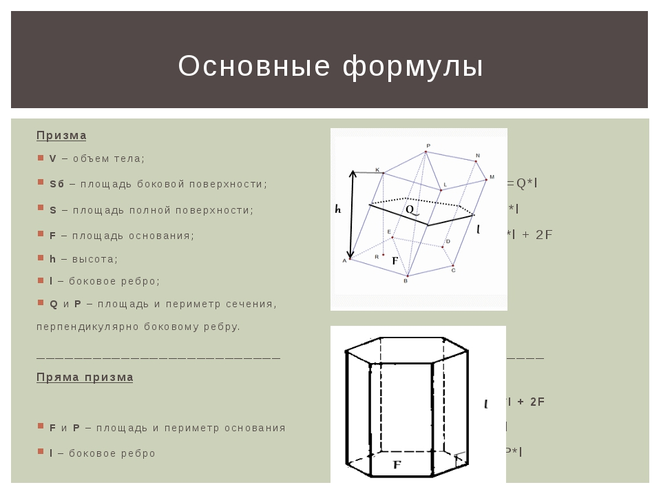 Призма V – объем тела; Sб – площадь боковой поверхности; V =F*h=Q*l S – площа...