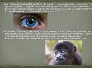 Глаза человека выполняют двойную функцию; с одной стороны - они являются орга