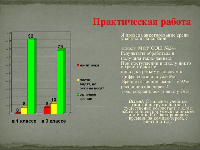 Я провела анкетирование среди учащихся начальной школы МОУ СОШ №24» Результа...