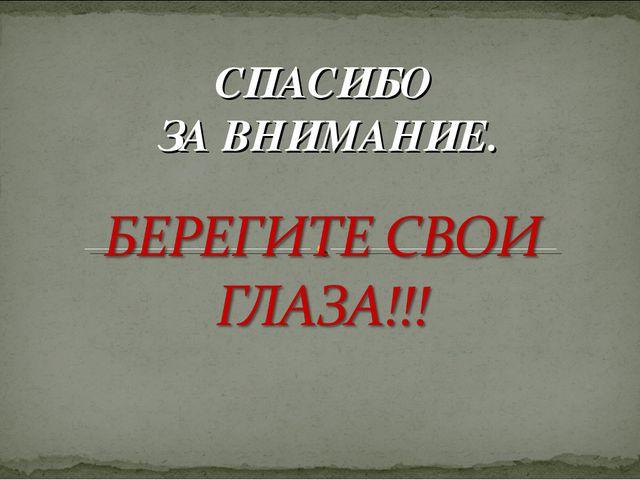 СПАСИБО ЗА ВНИМАНИЕ.
