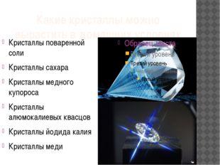 Какие кристаллы можно вырастить в домашних условиях Кристаллы поваренной соли
