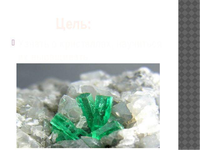 Цель: Узнать о кристаллах, научиться их выращивать.