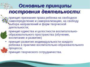 Основные принципы построения деятельности: принцип признания права ребенка на