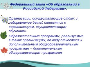 Федеральный закон «Об образовании в Российской Федерации». Организации, осуще