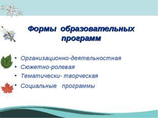 Формы образовательных программ Организационно-деятельностная Сюжетно-ролевая