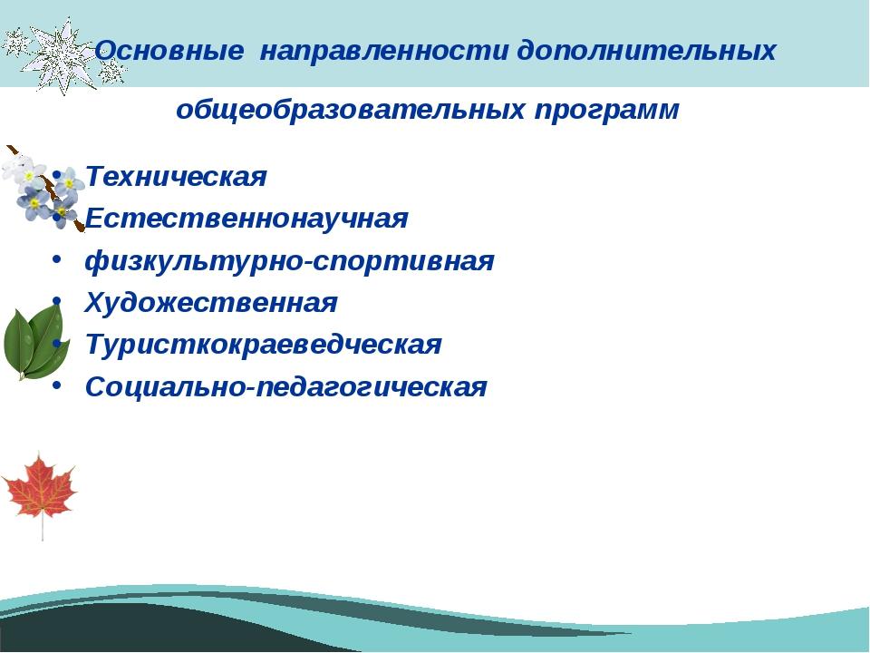 Основные направленности дополнительных общеобразовательных программ Техническ...
