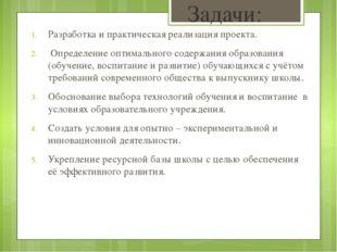 Задачи: Разработка и практическая реализация проекта. Определение оптимальног