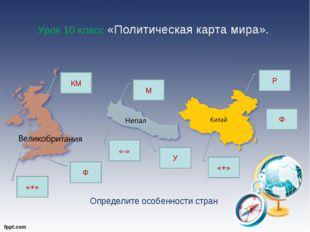 Урок 10 класс «Политическая карта мира». КМ Ф М Р Ф У «+» «-» «+» Определите