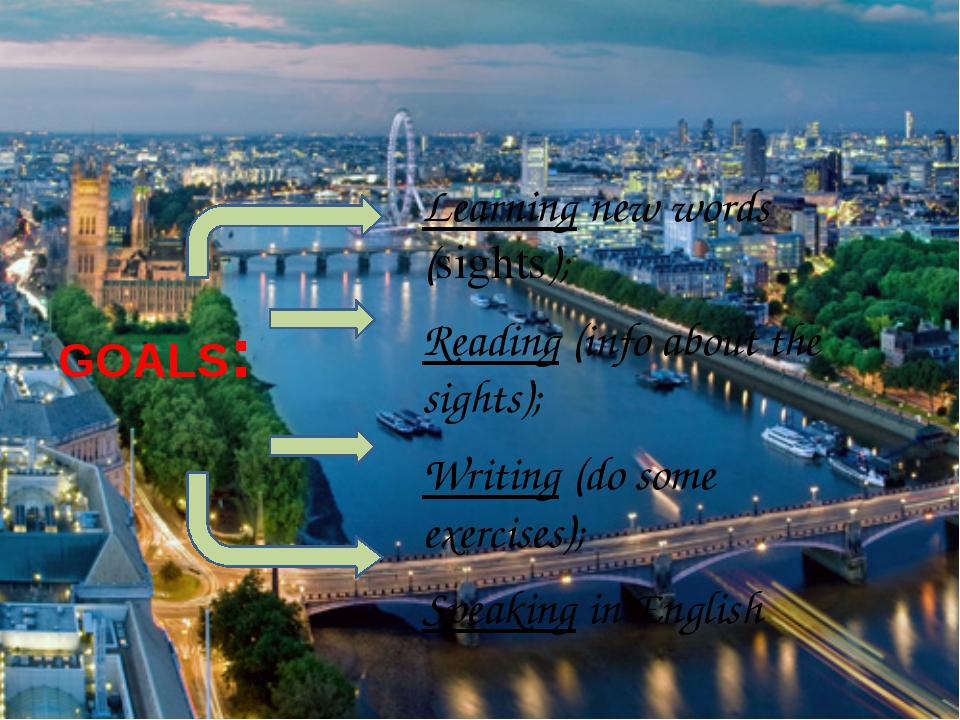 GOALS: Learning new words (sights); Reading (info about the sights); Writing...