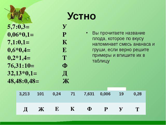 Устно 5,7:0,3= 0,06*0,1= 7,1:0,1= 0,6*0,4= 0,2*1,4= 76,31:10= 32,13*0,1= 48,4...