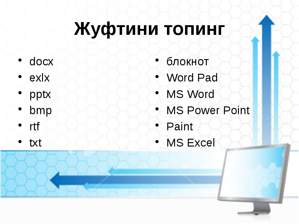 Жуфтини топинг docx exlx pptx bmp rtf txt блокнот Word Pad MS Word MS Power P...