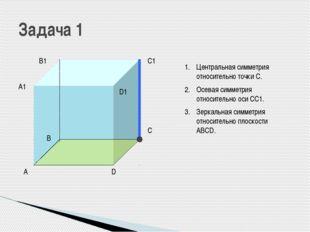 А В С D А1 В1 С1 D1 Центральная симметрия относительно точки С. Осевая симме
