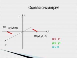 Осевая симметрия l М1 М2 x y z (х1;y1;z1) (х2;y2;z2) x2 = - x1 y2 = - y1 z2 =