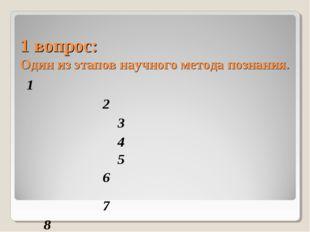 1 вопрос: Один из этапов научного метода познания. 1     2