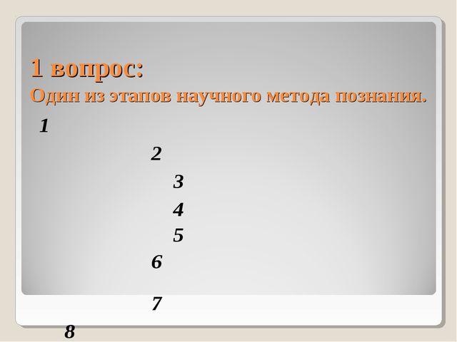 1 вопрос: Один из этапов научного метода познания. 1     2...