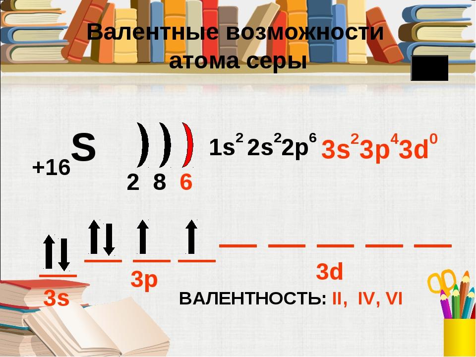 +16S 2 8 6 1s2 2s22p6 3s23p43d0 ВАЛЕНТНОСТЬ: II, IV, VI 3s 3p 3d Валентные в...