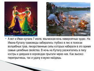 А вот и Иван-купала 7 июля, языческая ночь невероятных чудес. На Ивана-Купал