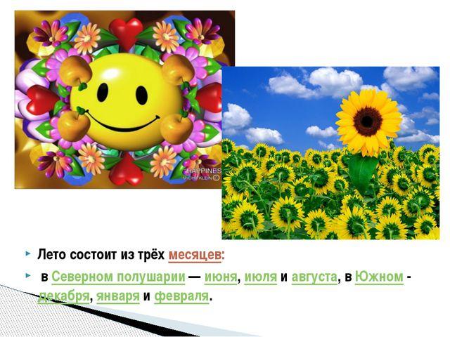 Лето состоит из трёхмесяцев: вСеверном полушарии—июня,июляиавгуста, в...