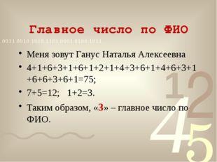Главное число по ФИО Меня зовут Ганус Наталья Алексеевна 4+1+6+3+1+6+1+2+1+4+