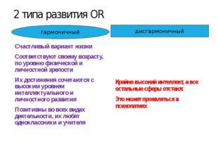 2 типа развития ОR Крайне высокий интеллект, а все остальные сферы отстают. Э