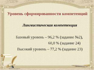 Уровень сформированности компетенций Лингвистическая компетенция Базовый уров