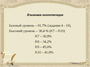 Языковая компетенция Базовый уровень – 81,7% (задания 4 - 19), Высокий урове