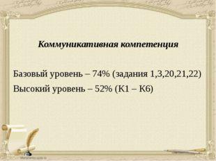 Коммуникативная компетенция Базовый уровень – 74% (задания 1,3,20,21,22) Выс