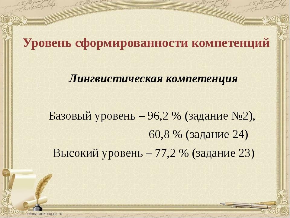 Уровень сформированности компетенций Лингвистическая компетенция Базовый уров...