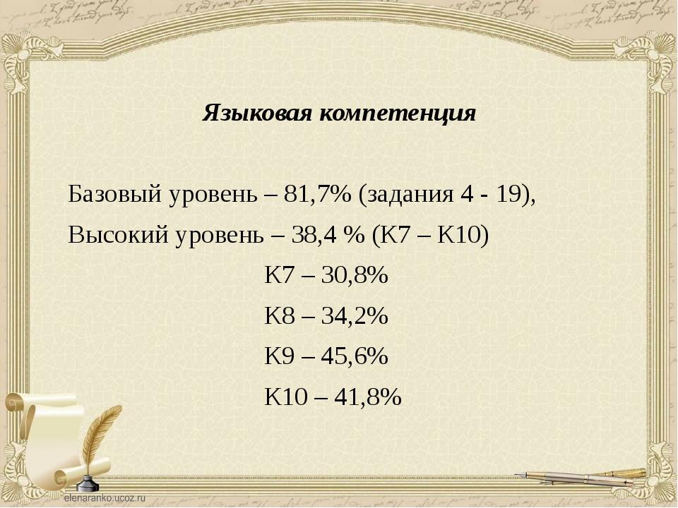 Языковая компетенция Базовый уровень – 81,7% (задания 4 - 19), Высокий урове...