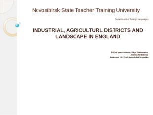 Novosibirsk State Teacher Training University Department of foreign languages
