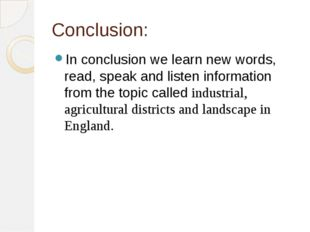 Conclusion: In conclusion we learn new words, read, speak and listen informat